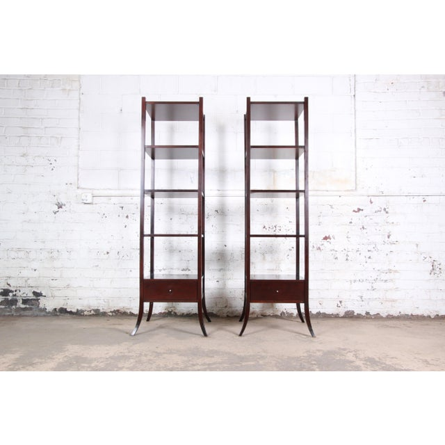 Barbara Barry for Baker Furniture Dark Mahogany Étagères, Pair For Sale - Image 13 of 13