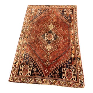 1950s Vintage Persian Qashqai Area Rug - 5′1″ × 8′1″ For Sale
