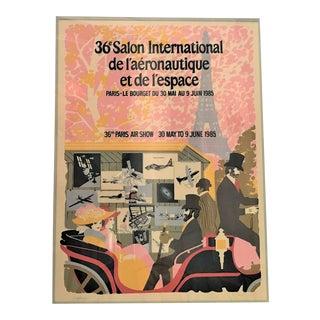 1985 Original French Aviation Poster: Paris Air Show - 36e Salon International De L'aéronautique Et De L'espace (Le Bourget) For Sale