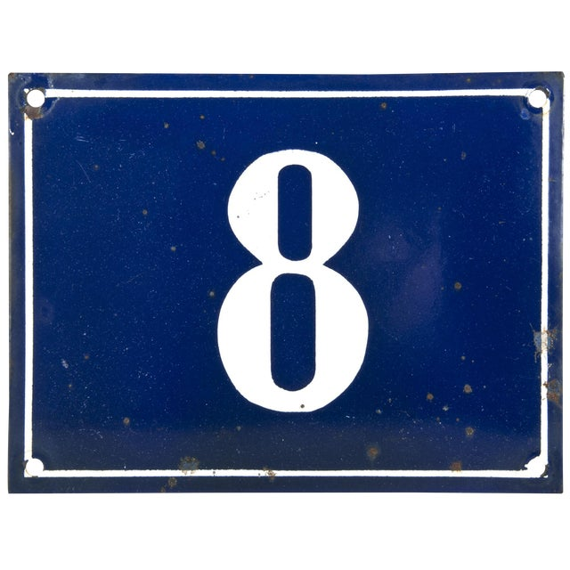 Vintage French Enamel House Number 8 - Image 1 of 2