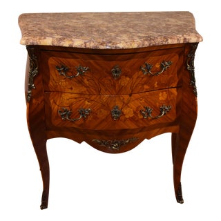 19th Century French Louis XV Walnut Inlaid Marble Top Nightstand For Sale