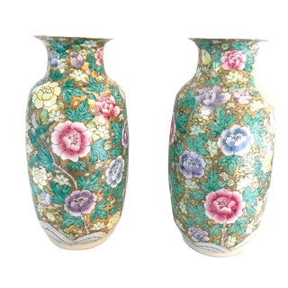 Chinoiserie Floral Gold and Pastel Ceramic Vases - a Pair For Sale