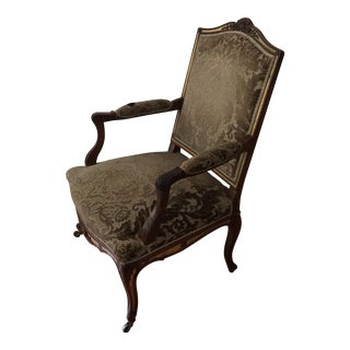 Solid Wood Damask French Bergere Chair For Sale