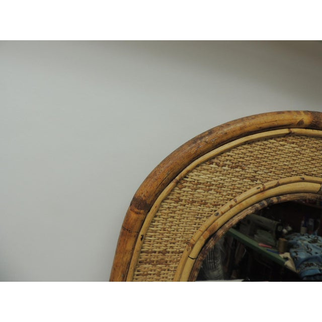 Vintage Rectangular Bamboo Mirror With Rounded Top For Sale In Miami - Image 6 of 6