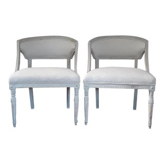 Pair of Swedish Gustavian Barrel Chairs For Sale