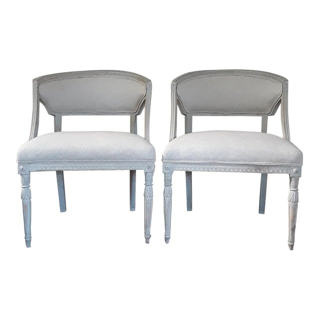 Pair of Swedish Gustavian Barrel Chairs - Image 1 of 11