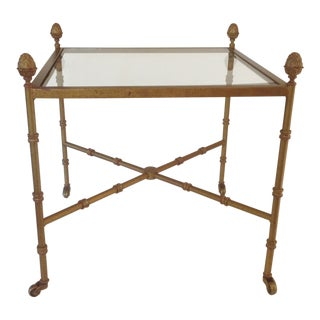 Chinoiserie Glass Top End Table