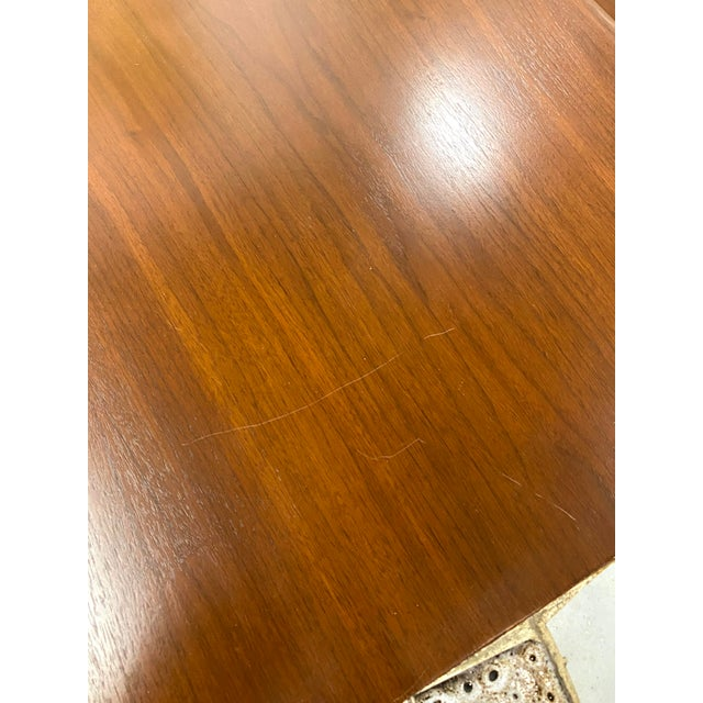 Mid-Century Modern Vintage Pair of Mid Century Modern Wood Side End Tables W/ Ceramic Tile Inlay For Sale - Image 3 of 7