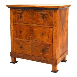 Swedish Biedermeier Walnut Chest of Drawers For Sale
