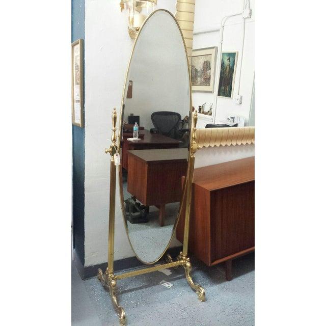 Gold Brass Vintage Floor Mirror - Image 11 of 11