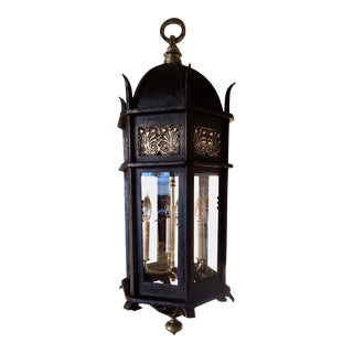 Iron and Bronze Hall Lantern, Style of E. F. Caldwell For Sale