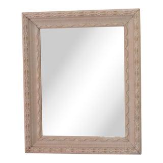 20th Century Americana Pie Crust Beige Wooden Mirror For Sale