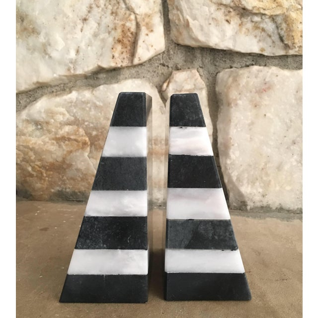 Color Blocked Marble Bookends For Sale - Image 4 of 4