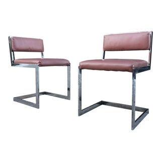 Milo Baughman Style Chrome Accent Chairs - A Pair