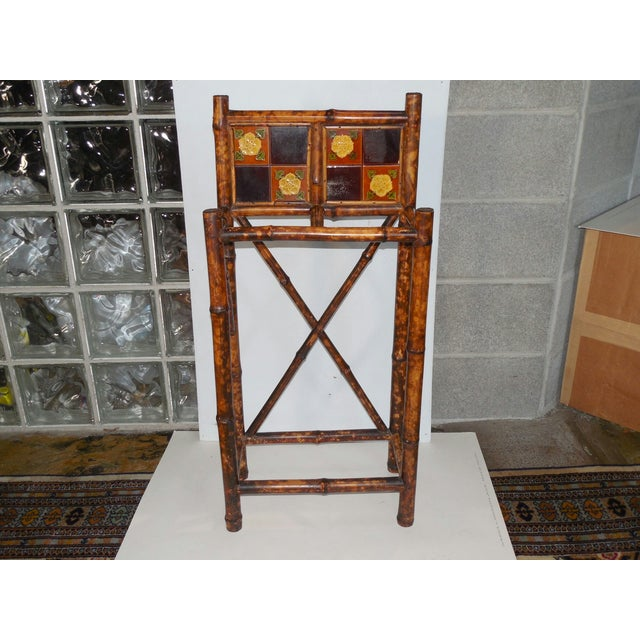 English Arts & Crafts Stick Stand with Tiles - Image 2 of 7