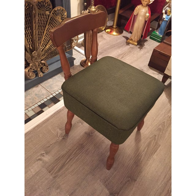 Traditional Vintage Vinyl Sewing Hassock Stool For Sale - Image 3 of 7