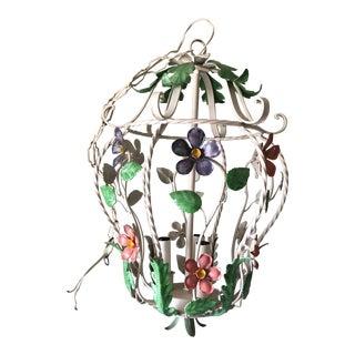 1960s Vintage Italian Florentine Floral Cage Ceiling Lamp For Sale