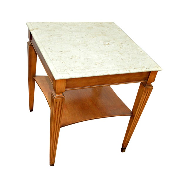 Traditional Square Side Table With Marble Top - Image 1 of 7