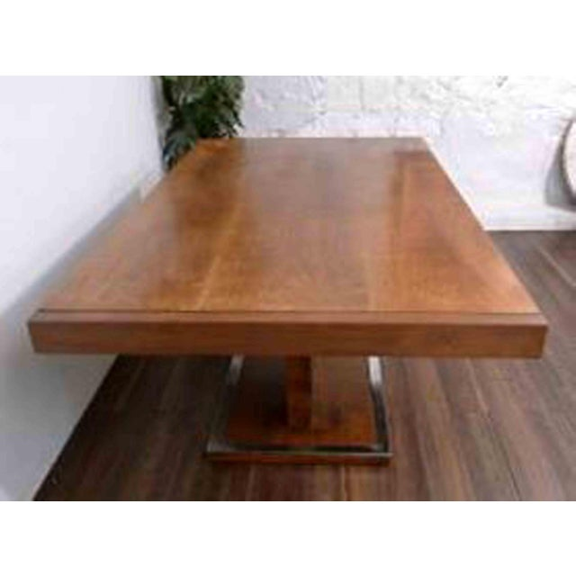 1970s 1970s Hollywood Regency Milo Baughman for Founders Walnut Extension Dining Table For Sale - Image 5 of 12