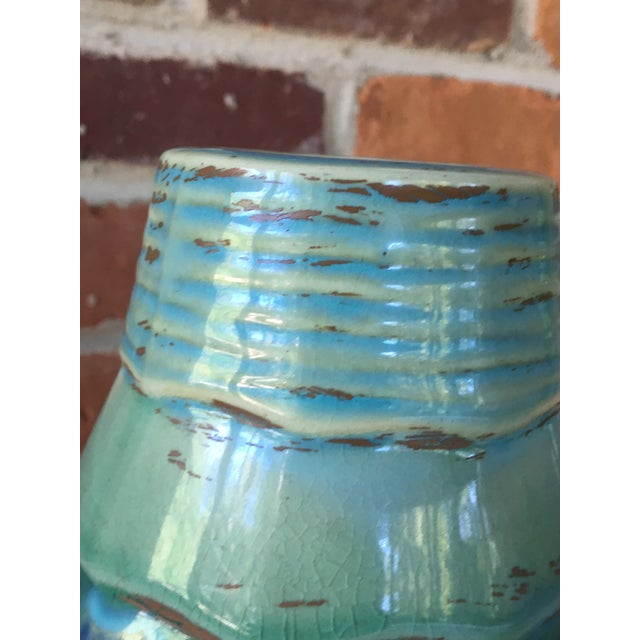 Late 20th Century Late 20th Century Contemporary Large Drip and Crackle Glazed Ribbed Vase For Sale - Image 5 of 11