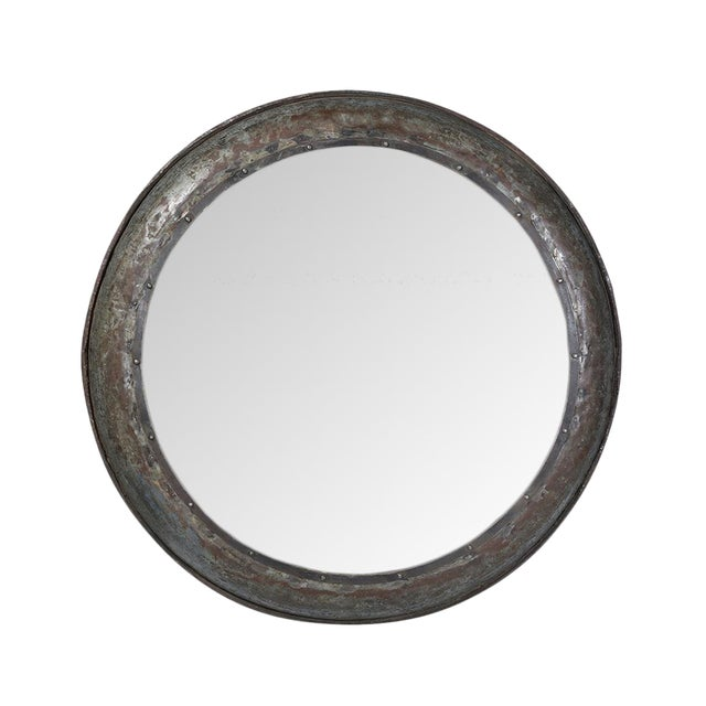 Large Industrial Round Mirror For Sale