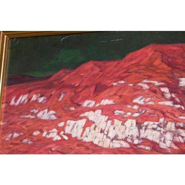 Chinese Abstract Oil on Canvas of Mountains and Seascape, Indistinctly Signed For Sale - Image 4 of 13