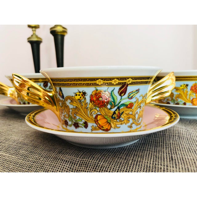 Early 21st Century Italian Rosenthal Versace Butterfly Garden Soup Cups and Saucers - 8 Pieces For Sale - Image 5 of 7