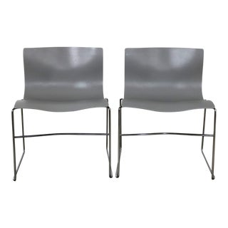 Knoll Handkerchief Side Chairs in Gray by Massimo & Lella Vignelli, a Pair For Sale