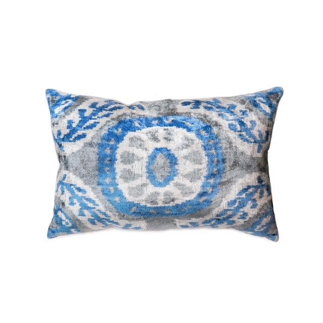 Pasargad Silk Velvet Ikat Pillow For Sale - Image 4 of 4