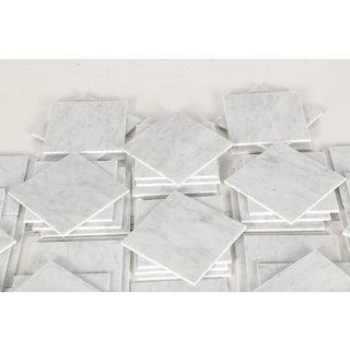 Italian Carrera Carrara Marble Tile White Gray Hollywood Regency Preview