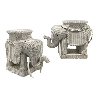Vintage Wicker Elephant Tables — a Pair For Sale