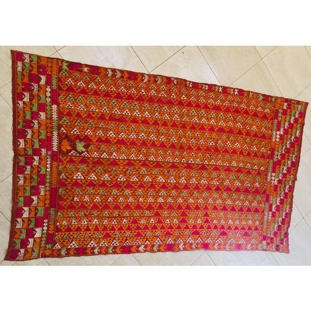 Phulkari Wedding Shawl, Silk Embroidery on Cotton, Punjab India 20th Century For Sale - Image 12 of 13