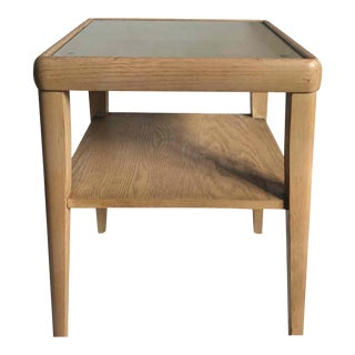 Mid Century Modern Two Tiered Wood and Glass Side Table For Sale