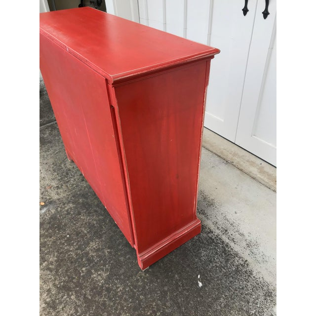 Rustic Red Beadboard Interior Cabinet For Sale In San Francisco - Image 6 of 7