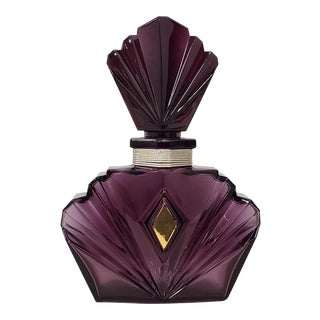 Large Scale Geometric Purple Glass Perfume Bottle For Sale