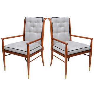 Pair of John Stuart Walnut and Brass Armchairs, USA For Sale