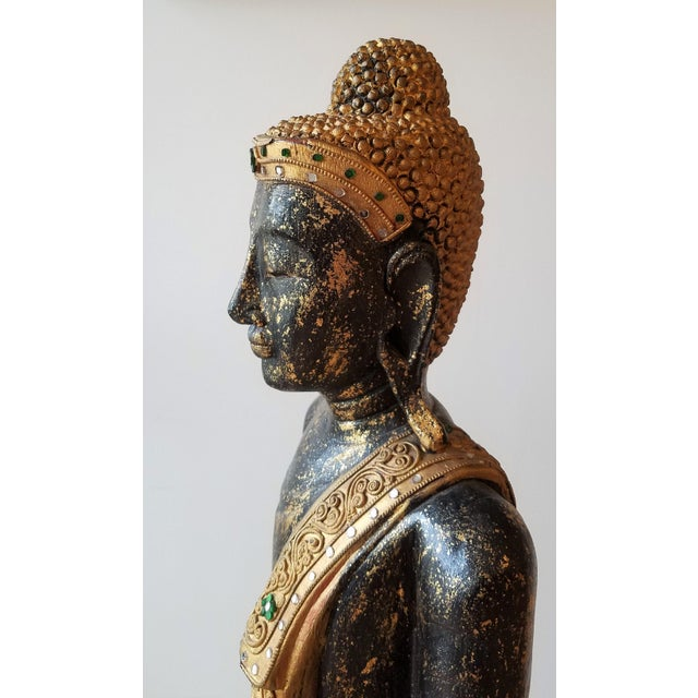 Mid 20th Century Hand Painted Carved Wood Standing Buddha For Sale - Image 9 of 13