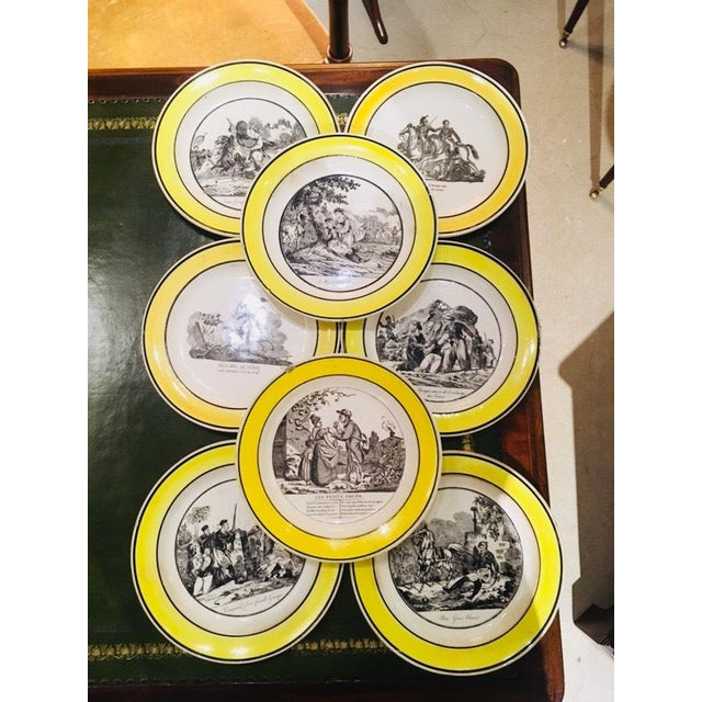 "Set includes eight plates(9""D) and two oval serving pieces (12""W x 9""H). Each piece depicts a different scene in French..."