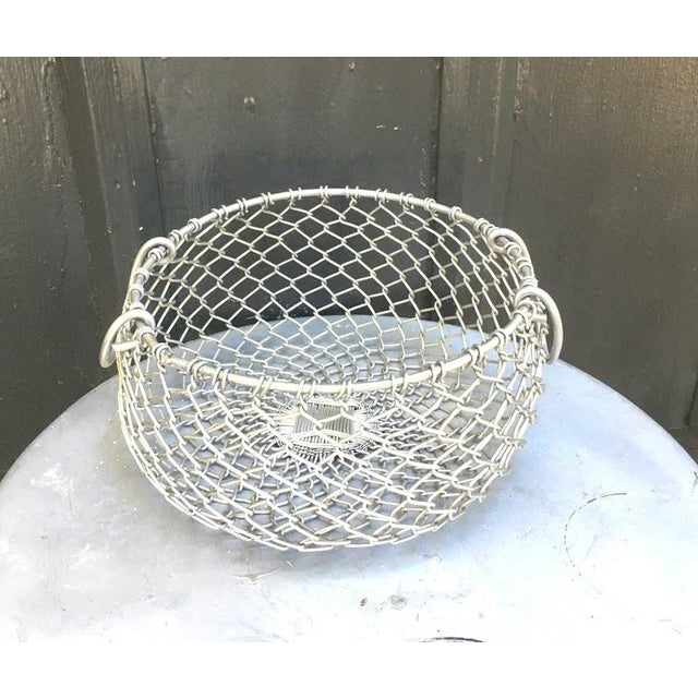 """Vintage silver metal chain mesh hanging plant basket with handles. Excellent condition. Made in India. Measures 6"""" tall..."""