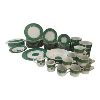 Vintage Georges Briard Imperial Malachite Dinner Set- Set of 59 Pieces For Sale