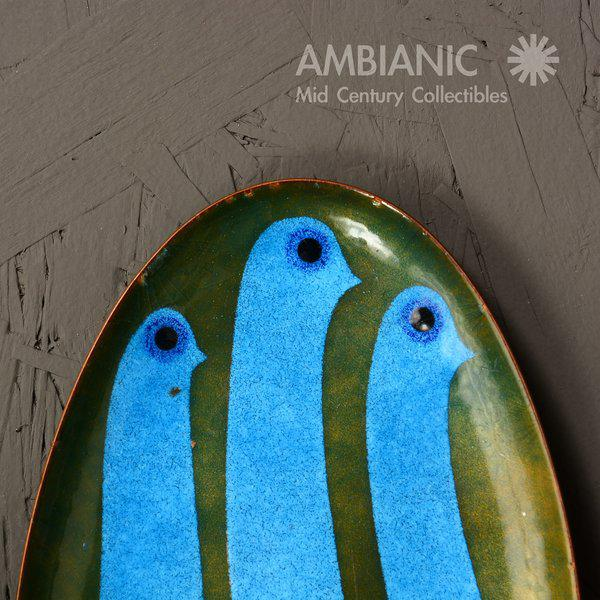 1970s Miguel Pineda Enamel on Copper Oval Dish For Sale - Image 5 of 9