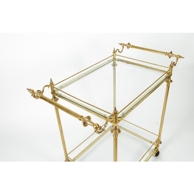 Vintage Solid Brass / Glass Shelves Two-Tier Bar Cart For Sale - Image 4 of 13