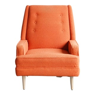 Mid 20th Century Orange Lounge With Maple Feet For Sale