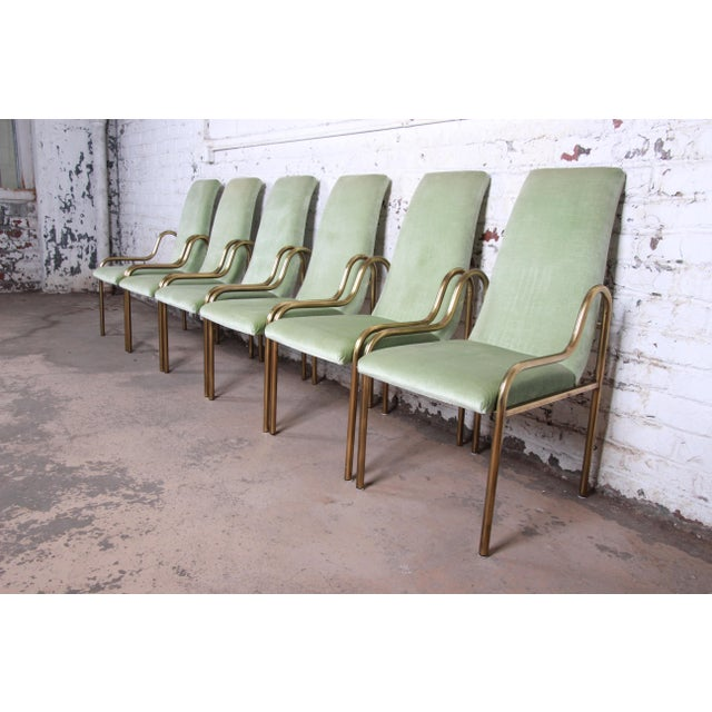 Mastercraft Hollywood Regency Brass Dining Chairs, Set of Six For Sale - Image 9 of 9