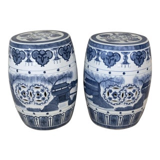Vintage Blue and White Garden Stools - a Pair