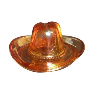 Folk Art Glass Ten Gallon Hat Ash Tray For Sale
