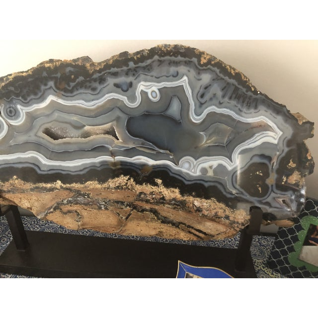 Giant Agate Geode on Stand For Sale - Image 9 of 11