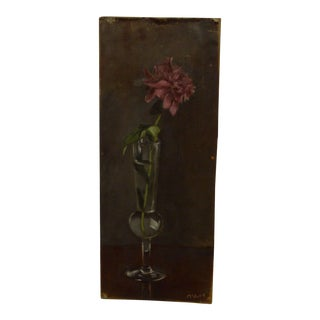 """""""Single Flower"""" Original Signed Painting Mounted on Board by Frederick McDuff"""