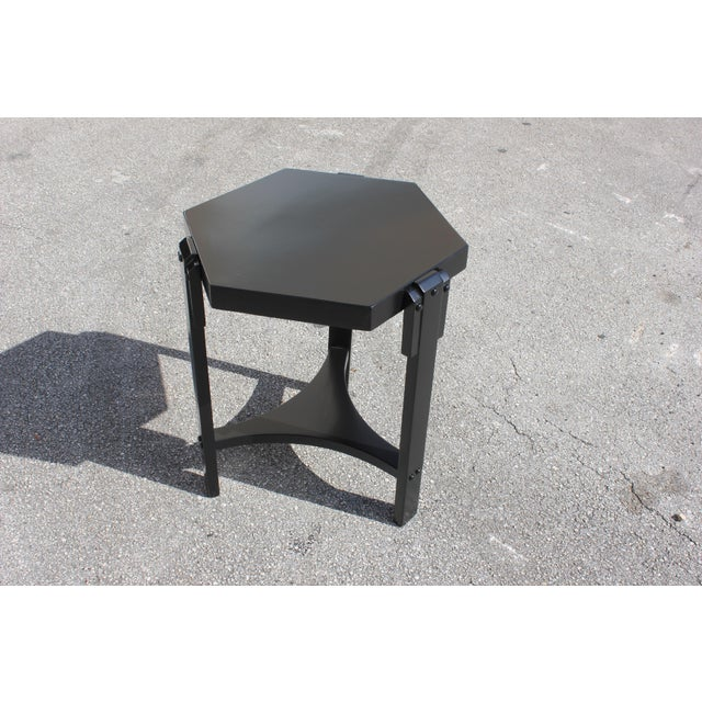 1940s French Art Deco Black Ebonized Coffee Table For Sale - Image 10 of 13