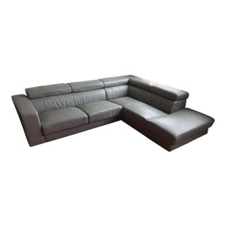 Modern Gray Leatherette Sectional With Chaise and Flip-Up Headrests